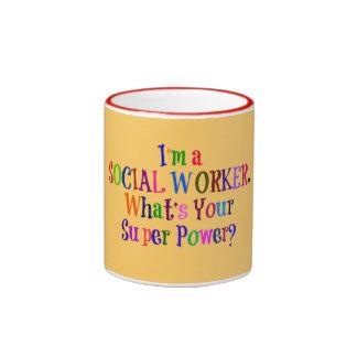 Social Worker Superhero, Colorful Text Ringer Coffee Mug