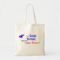 Social Worker Superhero Tote Bags