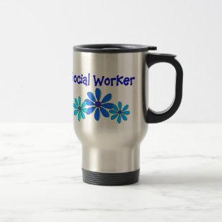 "Social Worker Travel Mug ""Blue Daisies"""