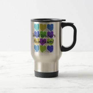 Social Worker Travel Mug Hearts Design