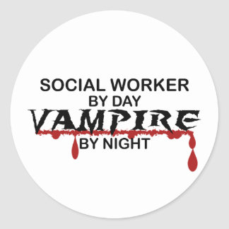 Social Worker Vampire by Night Classic Round Sticker