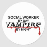 Social Worker Vampire by Night Classic Round Sticker
