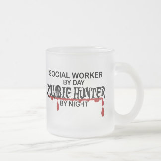 Social Worker Zombie Hunter Frosted Glass Coffee Mug