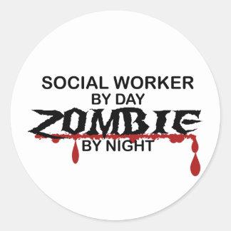 Social Worker Zombie Classic Round Sticker