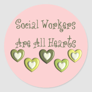 Social Workers Are All Hearts Gifts Classic Round Sticker