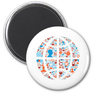 Social World Shape 2 Inch Round Magnet