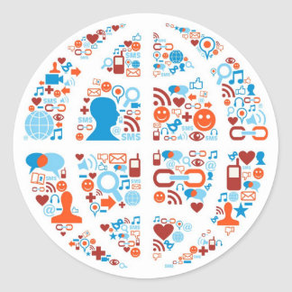 Social World Shape Classic Round Sticker