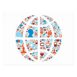 Social World Shape Postcard