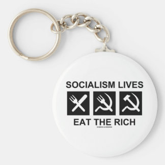 Socialism Lives Eat The Rich (Political Science) Basic Round Button Keychain
