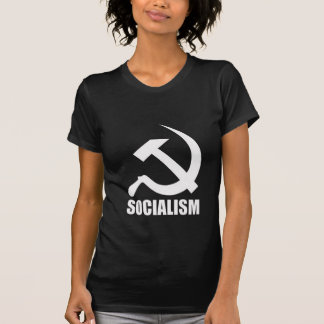 Socialism & White Hammer & Sickle on Black T-Shirt