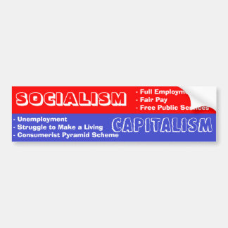 Socialismo contra el capitalismo Bumpersticker Etiqueta De Parachoque
