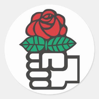 Socialismo Democratic (el puño y el símbolo color Pegatina Redonda