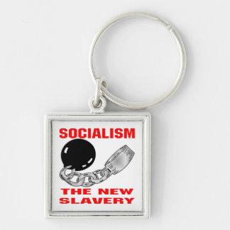 Socialismo la nueva esclavitud llavero cuadrado plateado