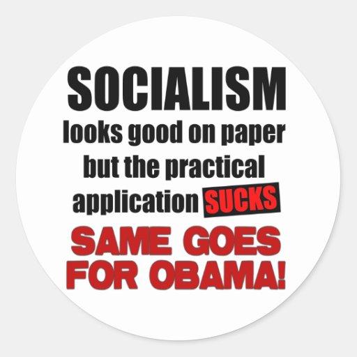 Socialismo - miradas buenas en el papel pegatina redonda
