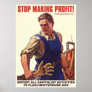 Socialismo - pare el lograr de beneficio: Proteste Póster