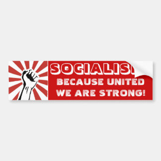 ¡SOCIALISMO ¡Porque están unidos somos fuertes Pegatina De Parachoque