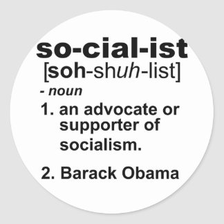 socialist definition classic round sticker