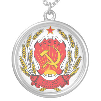 Socialist Russia national emblem Silver Plated Necklace