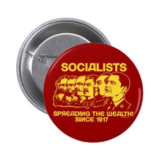 Socialistas que separan el botón de la riqueza pins