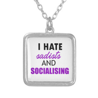 socializing design silver plated necklace
