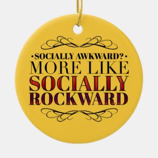 Socially awkward? Double-Sided ceramic round christmas ornament