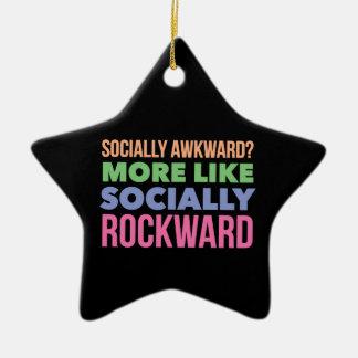 Socially awkward? Double-Sided star ceramic christmas ornament