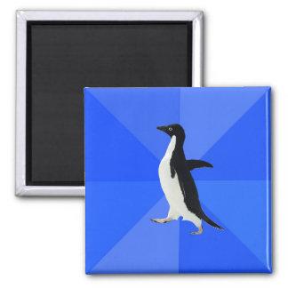 Socially Awkward Penguin. 2 Inch Square Magnet