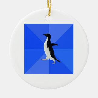 Socially Awkward Penguin Advice Animal Meme Ceramic Ornament
