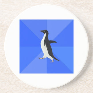 Socially Awkward Penguin Advice Animal Meme Drink Coaster