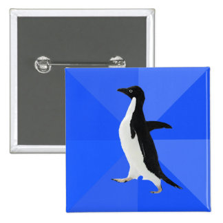 """Socially Awkward Penguin (""""Customize"""" to add text) 2 Inch Square Button"""
