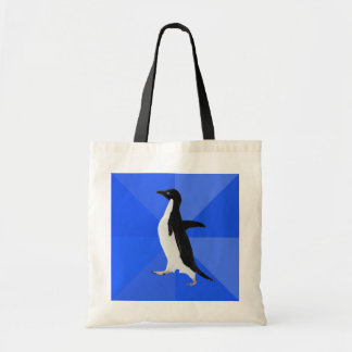 """Socially Awkward Penguin (""""Customize"""" to add text) Budget Tote Bag"""