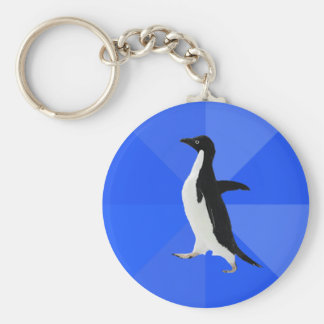 """Socially Awkward Penguin (""""Customize"""" to add text) Basic Round Button Keychain"""