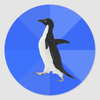"""Socially Awkward Penguin (""""Customize"""" to add text) Classic Round Sticker"""