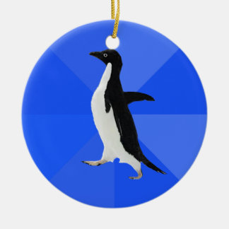"""Socially Awkward Penguin (""""Customize"""" to add text) Double-Sided Ceramic Round Christmas Ornament"""