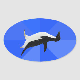 """Socially Awkward Penguin (""""Customize"""" to add text) Oval Sticker"""