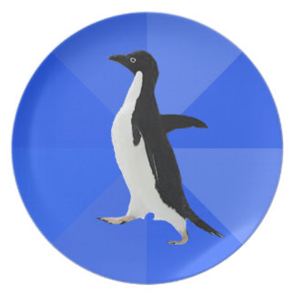 """Socially Awkward Penguin (""""Customize"""" to add text) Party Plates"""