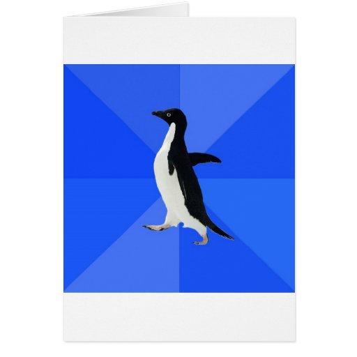 Socially-Awkward-Penguin-Meme Greeting Cards