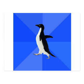 Socially-Awkward-Penguin-Meme Postcard