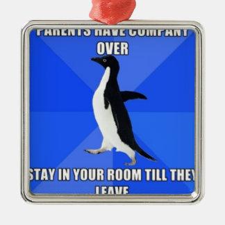 socially awkward penguin metal ornament
