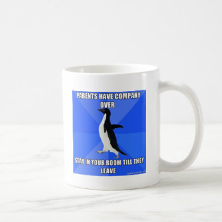 socially awkward penguin classic white coffee mug