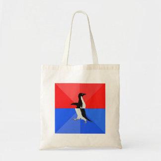 Socially Confused Penguin Advice Animal Meme Budget Tote Bag