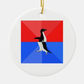 Socially Confused Penguin Advice Animal Meme Ceramic Ornament