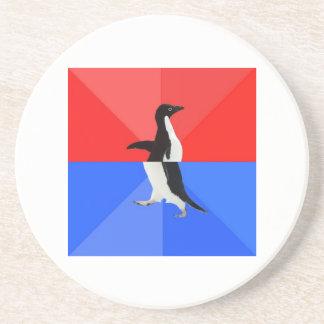 Socially Confused Penguin Advice Animal Meme Drink Coaster