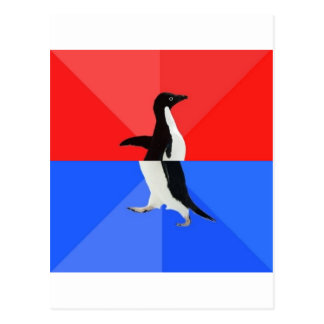 Socially Confused Penguin Advice Animal Meme Postcard