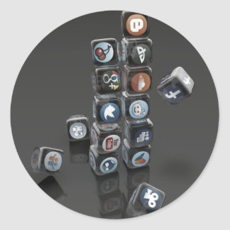 SOCIALUTION - Social Media Overload Classic Round Sticker