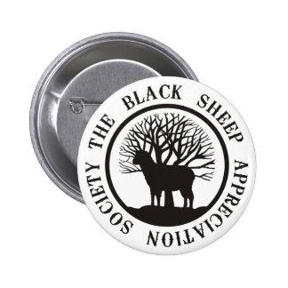 Sociedad del aprecio de las ovejas negras pin redondo de 2 pulgadas