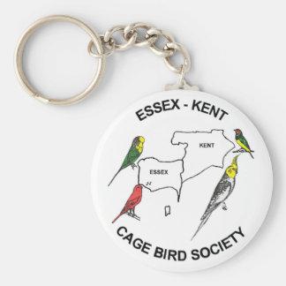 Sociedad del pájaro de la jaula de Essex-Kent Llavero Redondo Tipo Pin