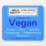 Sociedad del vegano del mousepad de la PAZ Alfombrillas De Ratón