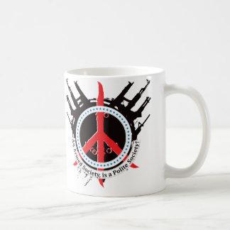 Sociedad educada armada - rojo y azul taza de café