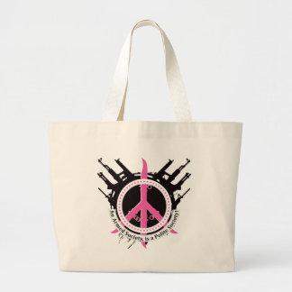 Sociedad educada armada - rosa bolsa tela grande